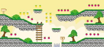 2D Tileset Platform Game  6. Tile set Platform for Game - A set of vector game asset, contains ground tiles Royalty Free Stock Image