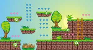 2D Tileset Platform Game 7. Tile set Platform for Game - A set of vector game asset, contains ground tiles Stock Image