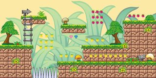 2D Tileset Platform Game 8 Royalty Free Stock Images