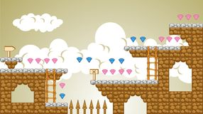 2D Tileset Platform Game 5. Tile set Platform for Game - A set of vector game asset, contains ground tiles Stock Photos