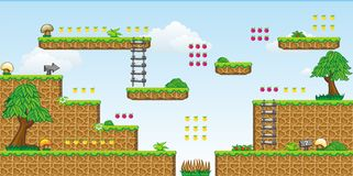 2D Tileset Platform Game 30. Tile set Platform for Game - A set of vector game asset, contains ground tiles Stock Photos