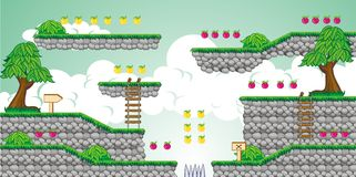2D Tileset Platform Game 23. Tile set Platform for Game - A set of vector game asset, contains ground tiles Stock Image