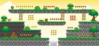 2D Tileset Platform Game 41. Tile set Platform for Game - A set of vector game asset, contains ground tiles Stock Images