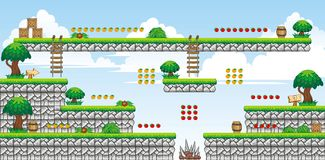 2D Tileset Platform Game 42. Tile set Platform for Game - A set of vector game asset, contains ground tiles Stock Images
