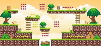 2D Tileset Platform Game 44. Tile set Platform for Game - A set of vector game asset, contains ground tiles Stock Image