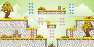 2D Tileset Platform Game 33. Tile set Platform for Game - A set of vector game asset, contains ground tiles Stock Images
