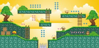 2D Tileset Platform Game 34. Tile set Platform for Game - A set of vector game asset, contains ground tiles Stock Photos