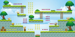 2D Tileset Platform Game 47. Tile set Platform for Game - A set of vector game asset, contains ground tiles Stock Image