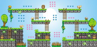 2D Tileset Platform Game 36. Tile set Platform for Game - A set of vector game asset, contains ground tiles Stock Image