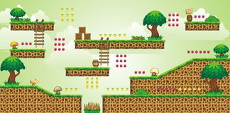 2D Tileset Platform Game 48. Tile set Platform for Game - A set of vector game asset, contains ground tiles Stock Image