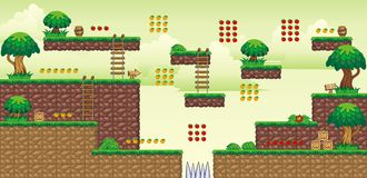 2D Tileset Platform Game 49. Tile set Platform for Game - A set of vector game asset, contains ground tiles Stock Photos