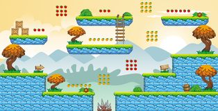 2D Tileset Platform Game 50. Tile set Platform for Game - A set of vector game asset, contains ground tiles Stock Image