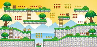 2D Tileset Platform Game 60 royalty free illustration
