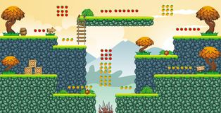 2D Tileset Platform Game 55 vector illustration