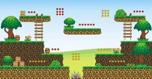 2D Tileset Platform Game 56. Tile set Platform for Game - A set of vector game asset, contains ground tiles Royalty Free Stock Images