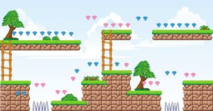 2D Tileset-Platformspel 2 royalty-vrije stock fotografie