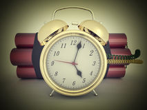 3d time bomb. With old clock and tnt Royalty Free Stock Images