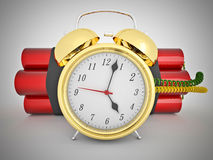 3d time bomb. With old clock and tnt Royalty Free Stock Image