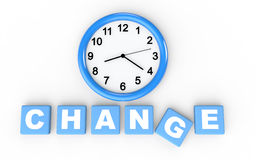 3d time for change concept. With wall clock and alphabet cubes Stock Image