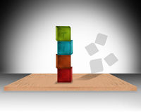 3d TIME colorful cubes illustration Stock Images