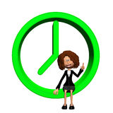 3d time concept. Illustration of the young woman with a clock Stock Photography