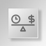 3D time and money icon Business Concept. 3D Symbol Gray Square time and money icon Business Concept Royalty Free Stock Photo