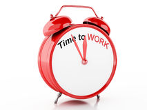 3d Time to Work words on Alarm clock Stock Image