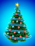3d tinsel blue. 3d illustration of Christmas tree over blue with blue balls Stock Photography