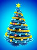 3d tinsel blue. 3d illustration of blue Christmas tree over blue with colorful balls and frippery Royalty Free Stock Image