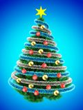3d tinsel blue. 3d illustration of Christmas tree over blue with red balls and frippery Stock Images