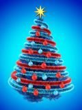 3d tinsel blue. 3d illustration of blue Christmas tree over blue with red balls and frippery red Royalty Free Stock Photography