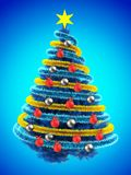3d tinsel blue. 3d illustration of blue Christmas tree over blue with red balls and frippery Stock Photo