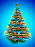3d tinsel blue. 3d illustration of Christmas tree over blue with red balls and frippery Stock Photography