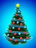 3d tinsel blue. 3d illustration of dark green Christmas tree over blue with blue balls Stock Images
