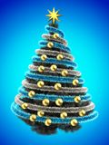 3d tinsel blue. 3d illustration of gray Christmas tree over blue with golden balls and frippery Royalty Free Stock Photos