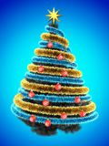 3d tinsel blue. 3d illustration of gray Christmas tree over blue with red balls and frippery Stock Image