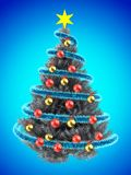 3d tinsel blue. 3d illustration of metallic Christmas tree over blue with golden balls Royalty Free Stock Photos