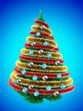 3d tinsel. 3d illustration of Christmas tree over blue with blue balls and frippery Stock Images