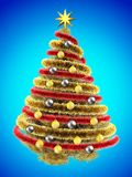 3d tinsel. 3d illustration of golden Christmas tree over blue with yellow balls and frippery Royalty Free Stock Image