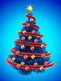 3d tinsel. 3d illustration of blue Christmas tree over blue with golden balls Royalty Free Stock Photo