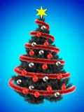 3d tinsel. 3d illustration of gray Christmas tree over blue with silver balls Stock Images
