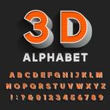 3D tipo retro fonte com sombra Alfabeto do vetor Foto de Stock Royalty Free