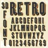 3d tipo retro fonte, tipografia do vintage Imagem de Stock