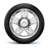 3d tire and alloy wheel. On white background Stock Photos