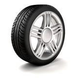 3d tire and alloy wheel. On white background Royalty Free Stock Photos