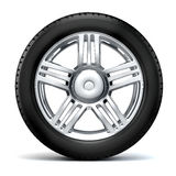 3d tire. On black  background Stock Photos