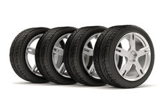 3d tires and alloy wheel. On white background Royalty Free Stock Photo