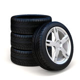 3d tires and alloy wheel. On white background Royalty Free Stock Image