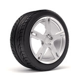 3d tires and alloy wheel. On white background Stock Photography