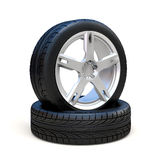 3d tires and alloy wheel. On white background Stock Images